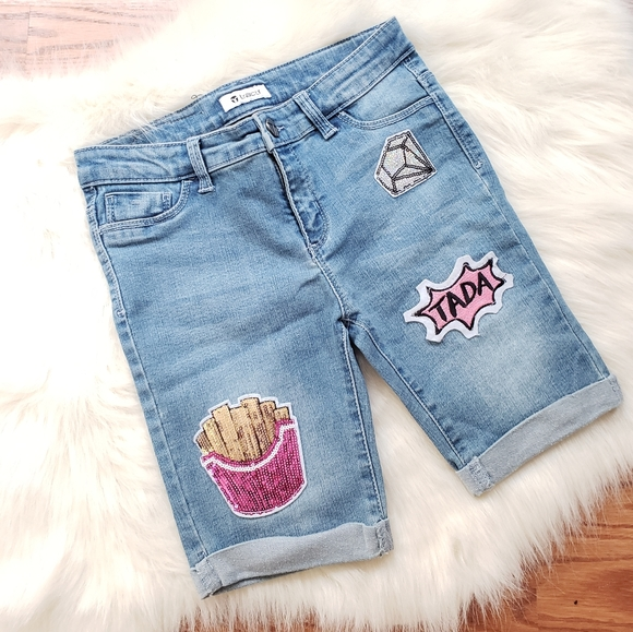 Tractr Sequined Patched Stretch Denim Bermuda Shorts for Girls